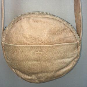 Baggu Tan Leather Round Circle Crossbody Purse